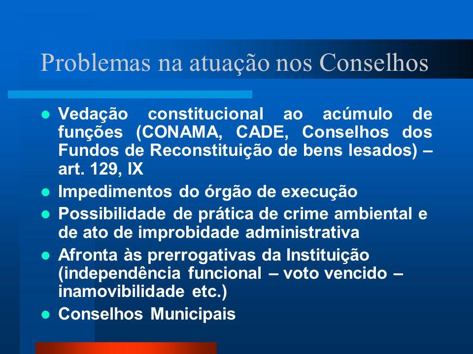 Problemas na atuação nos Conselhos