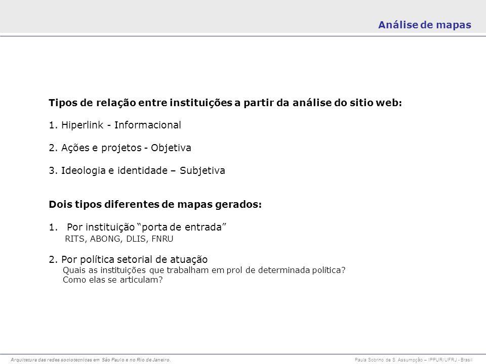 Tipos de relação entre instituições a partir da análise do sitio web: