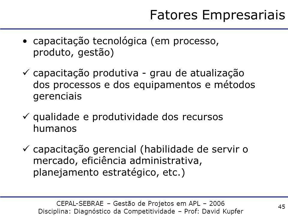 Fatores Empresariais capacitação tecnológica (em processo, produto, gestão)