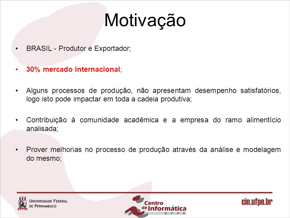 Motivação BRASIL - Produtor e Exportador; 30% mercado internacional;