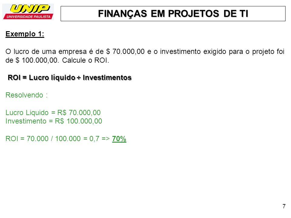 Exemplo 1:O lucro de uma empresa é de $ 70.000,00 e o investimento exigido para o projeto foi de $ 100.000,00. Calcule o ROI.