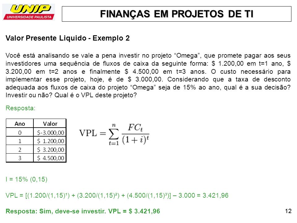 Valor Presente Liquido - Exemplo 2