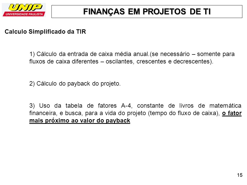 Calculo Simplificado da TIR