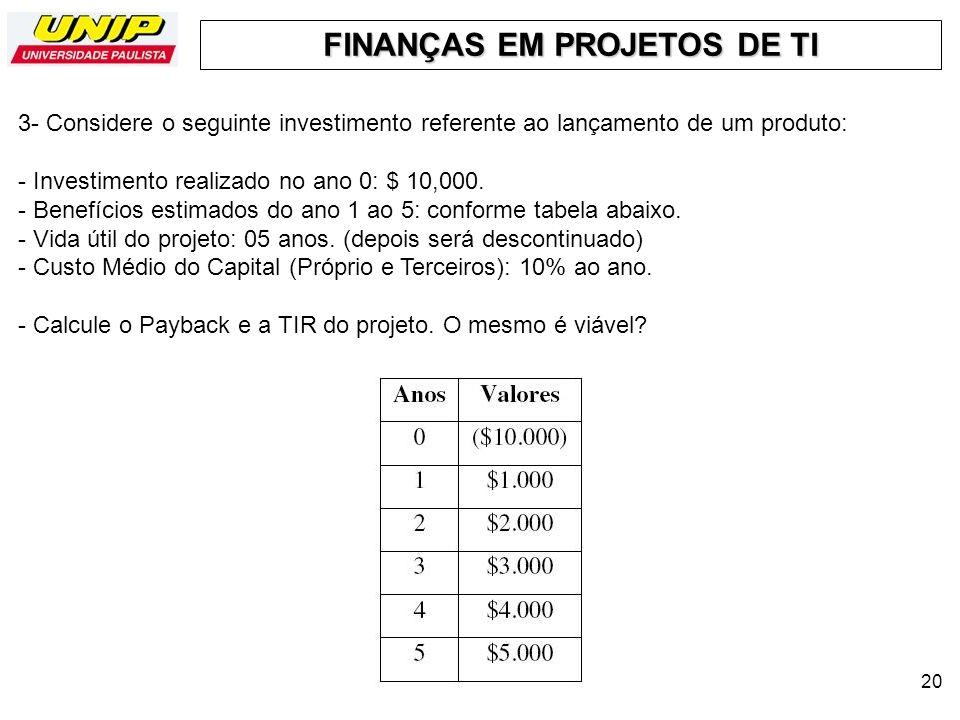 3- Considere o seguinte investimento referente ao lançamento de um produto: