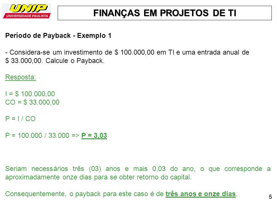 Período de Payback - Exemplo 1