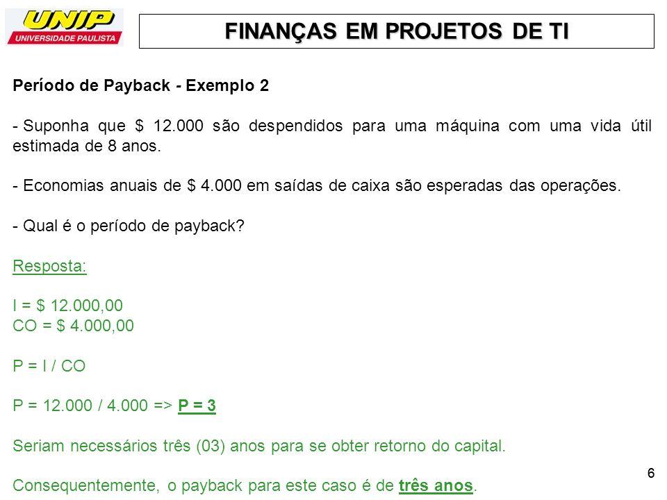 Período de Payback - Exemplo 2