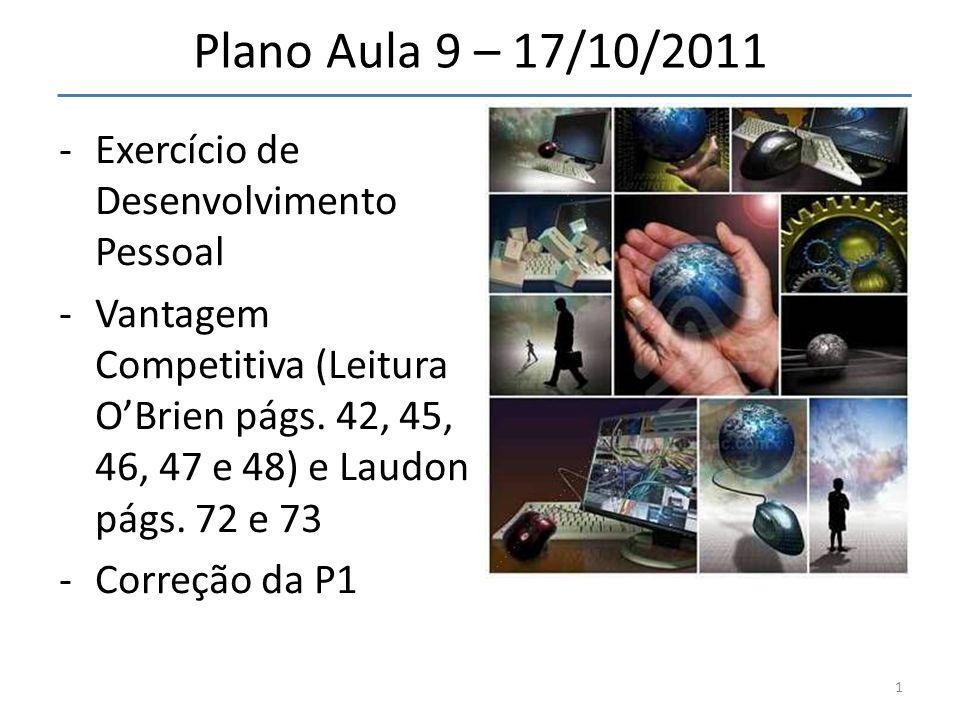 Plano Aula 9 – 17/10/2011 Exercício de Desenvolvimento Pessoal