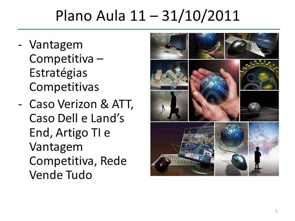 Plano Aula 11 – 31/10/2011 Vantagem Competitiva – Estratégias Competitivas.