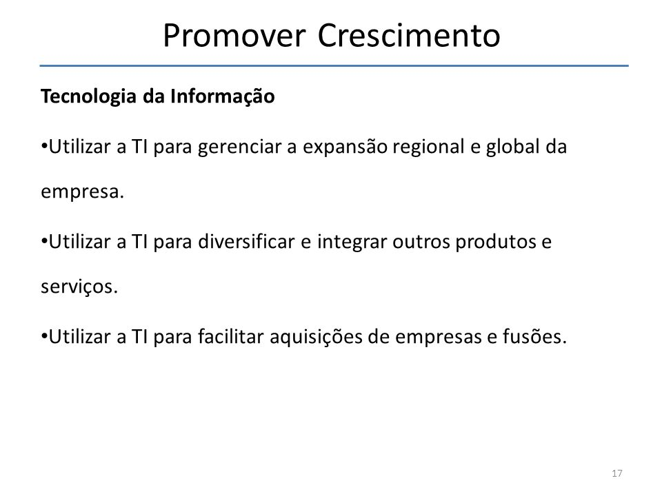 Promover Crescimento Tecnologia da Informação