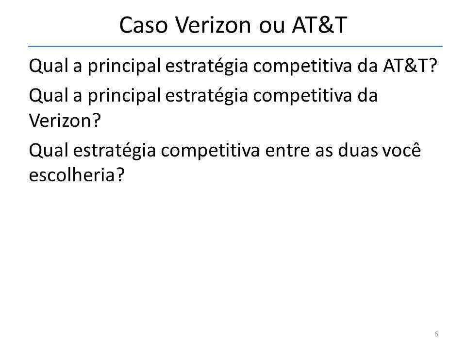 Caso Verizon ou AT&T Qual a principal estratégia competitiva da AT&T