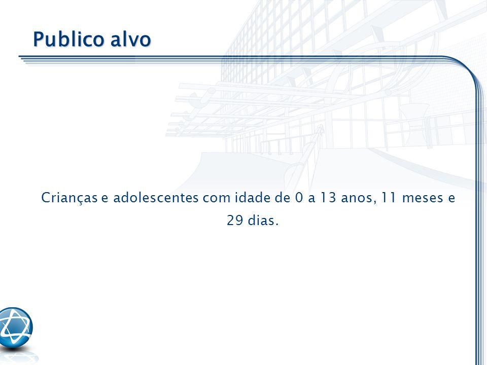 Crianças e adolescentes com idade de 0 a 13 anos, 11 meses e 29 dias.