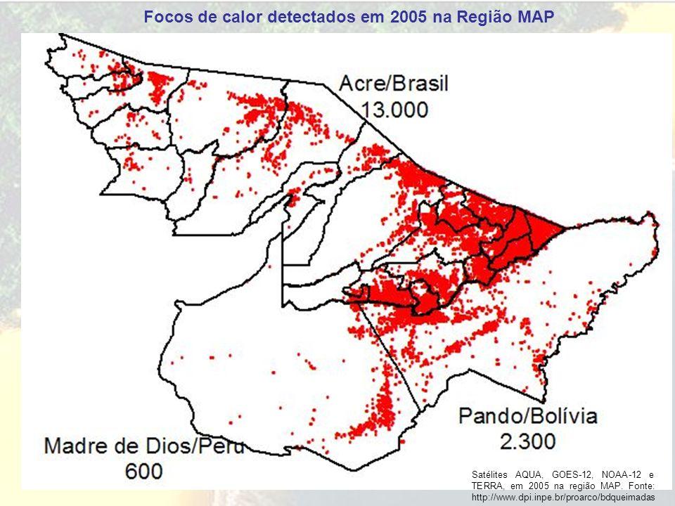 Focos de calor detectados em 2005 na Região MAP