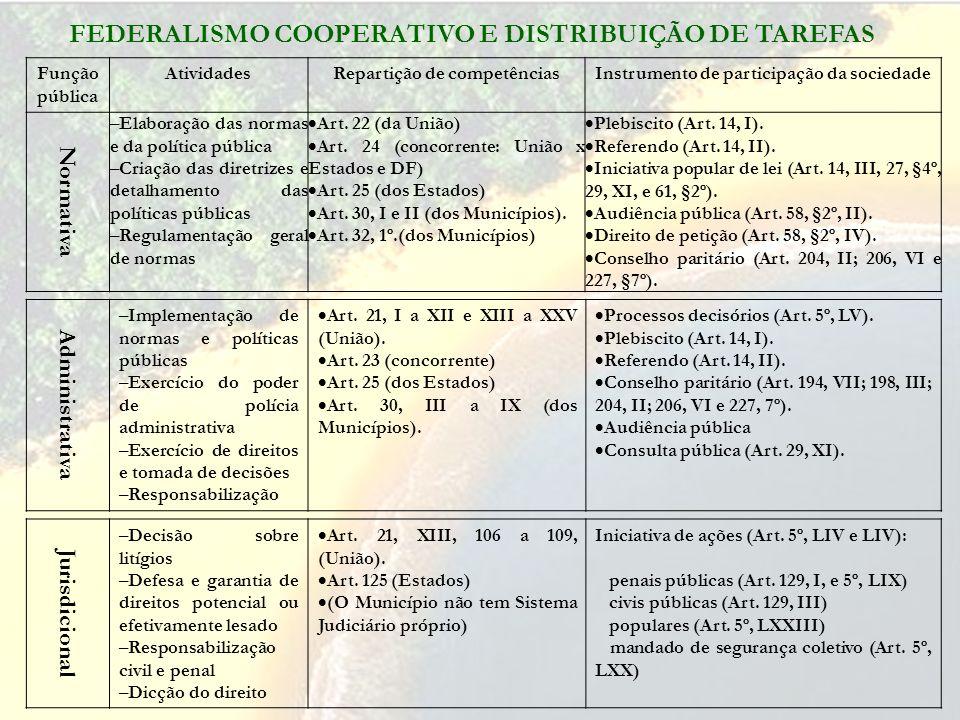 FEDERALISMO COOPERATIVO E DISTRIBUIÇÃO DE TAREFAS