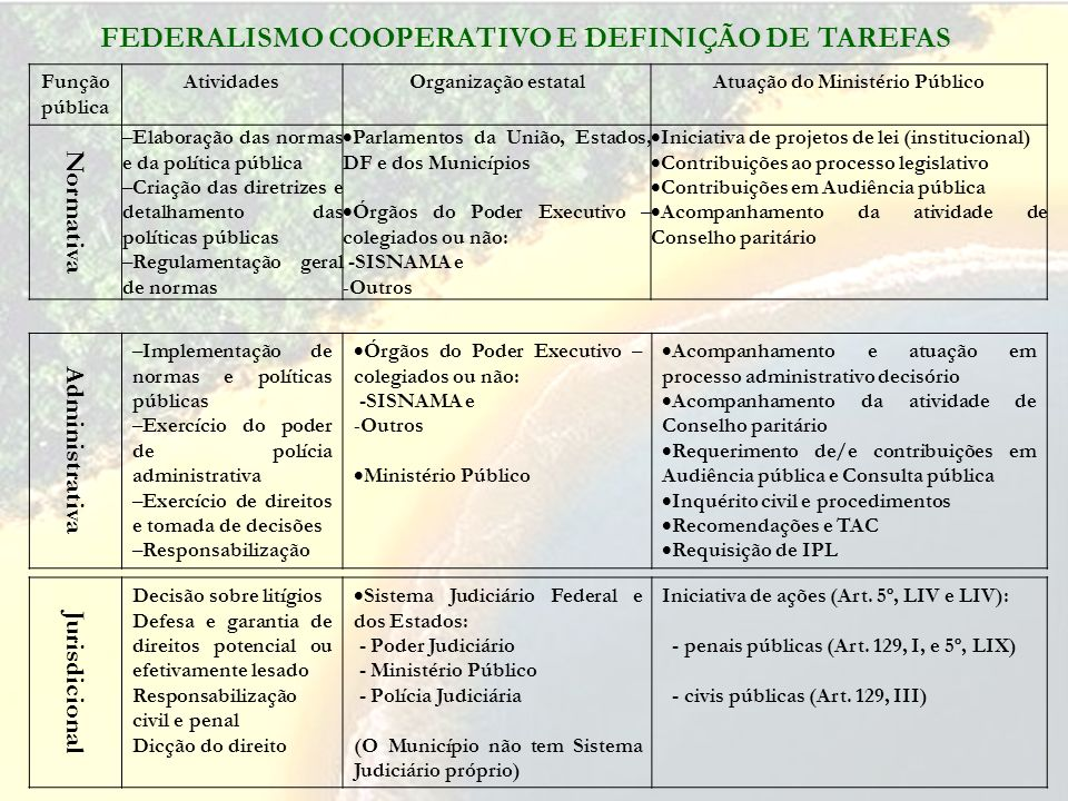 FEDERALISMO COOPERATIVO E DEFINIÇÃO DE TAREFAS