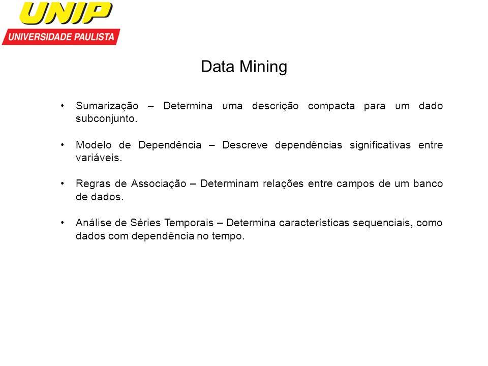 Data Mining Sumarização – Determina uma descrição compacta para um dado subconjunto.