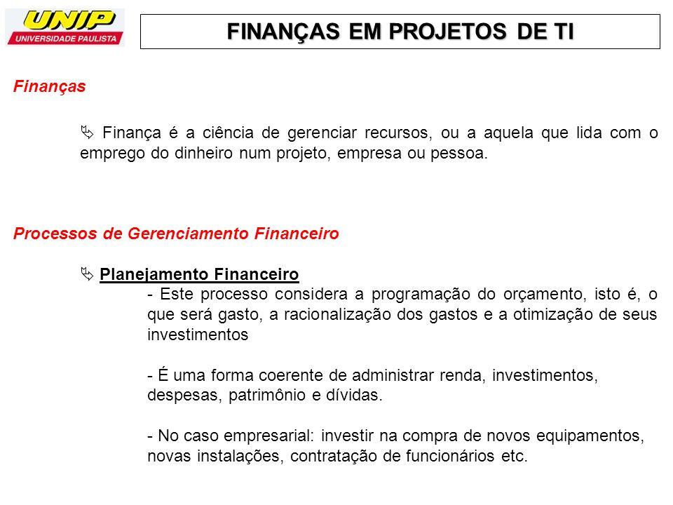 Finanças  Finança é a ciência de gerenciar recursos, ou a aquela que lida com o emprego do dinheiro num projeto, empresa ou pessoa.