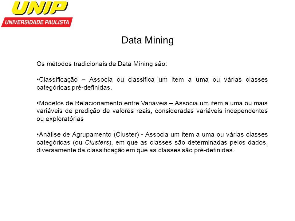 Data Mining Os métodos tradicionais de Data Mining são: