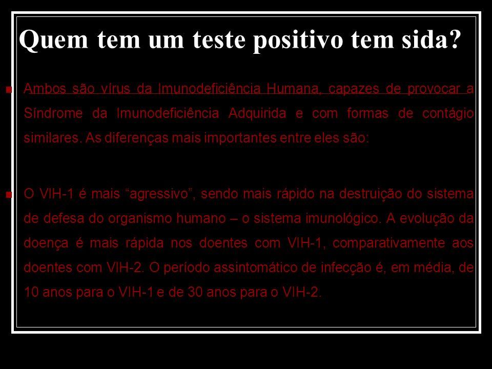 Quem tem um teste positivo tem sida