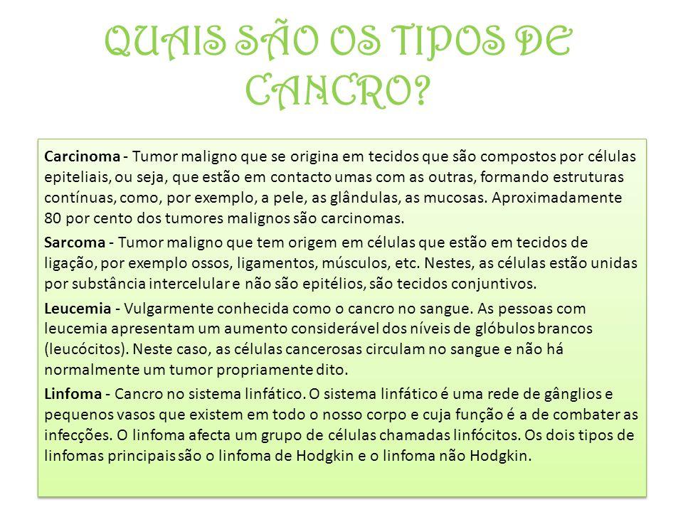 QUAIS SÃO OS TIPOS DE CANCRO