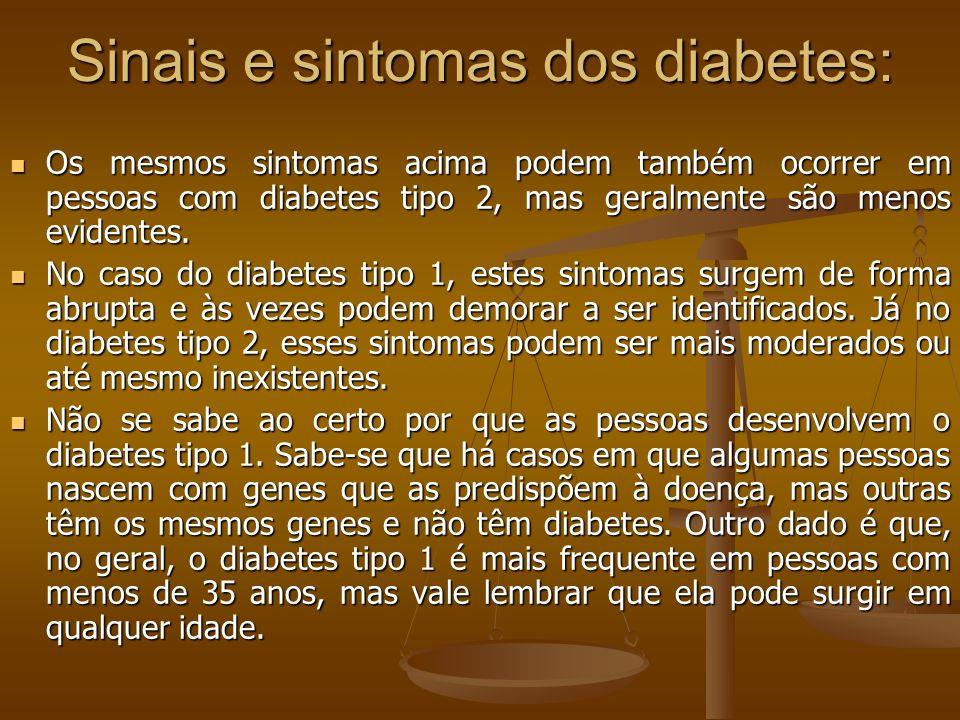 Sinais e sintomas dos diabetes: