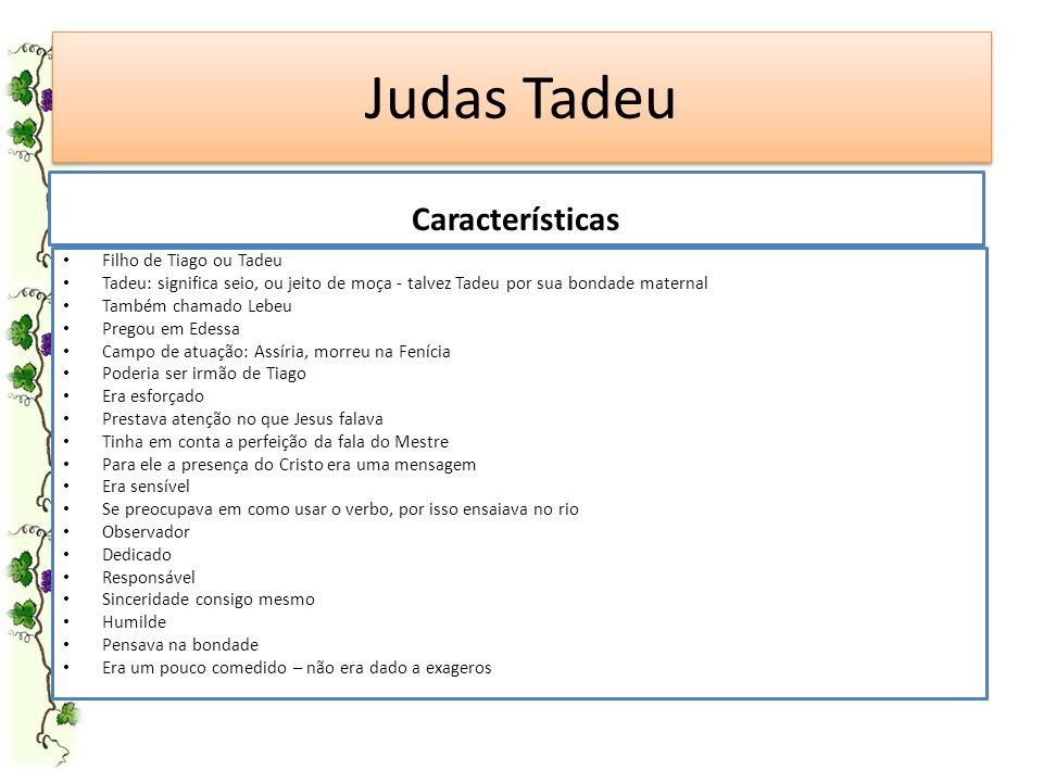 Judas Tadeu Características Filho de Tiago ou Tadeu