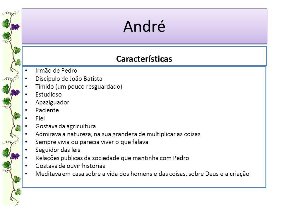 André Características Irmão de Pedro Discípulo de João Batista