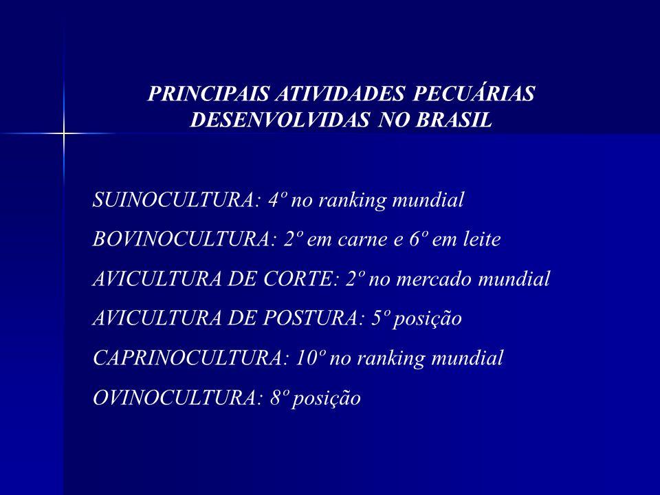PRINCIPAIS ATIVIDADES PECUÁRIAS DESENVOLVIDAS NO BRASIL