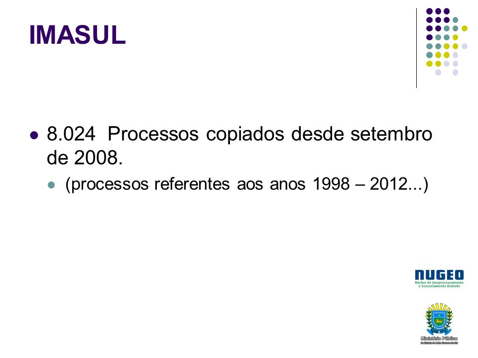 IMASUL 8.024 Processos copiados desde setembro de 2008.