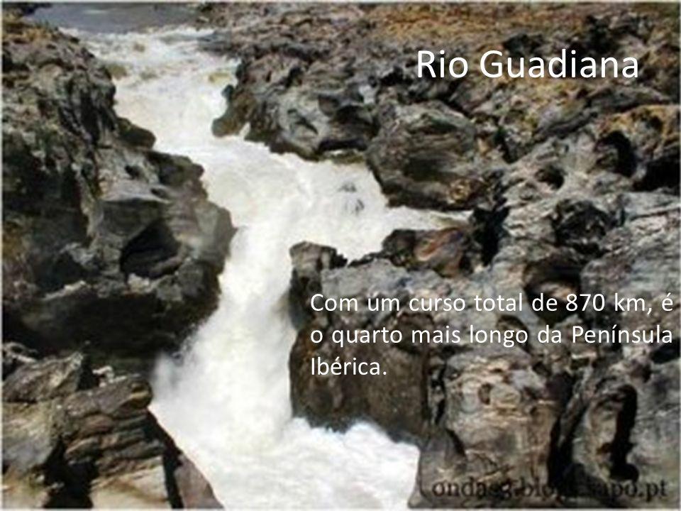 Rio Guadiana Com um curso total de 870 km, é o quarto mais longo da Península Ibérica.