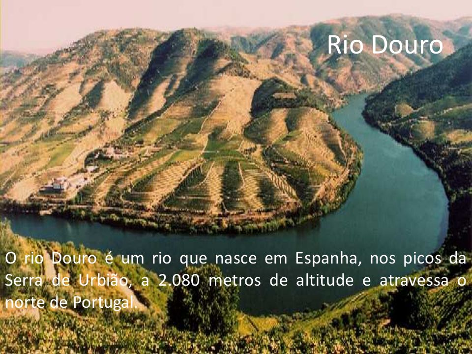Rio Douro O rio Douro é um rio que nasce em Espanha, nos picos da Serra de Urbião, a 2.080 metros de altitude e atravessa o norte de Portugal.
