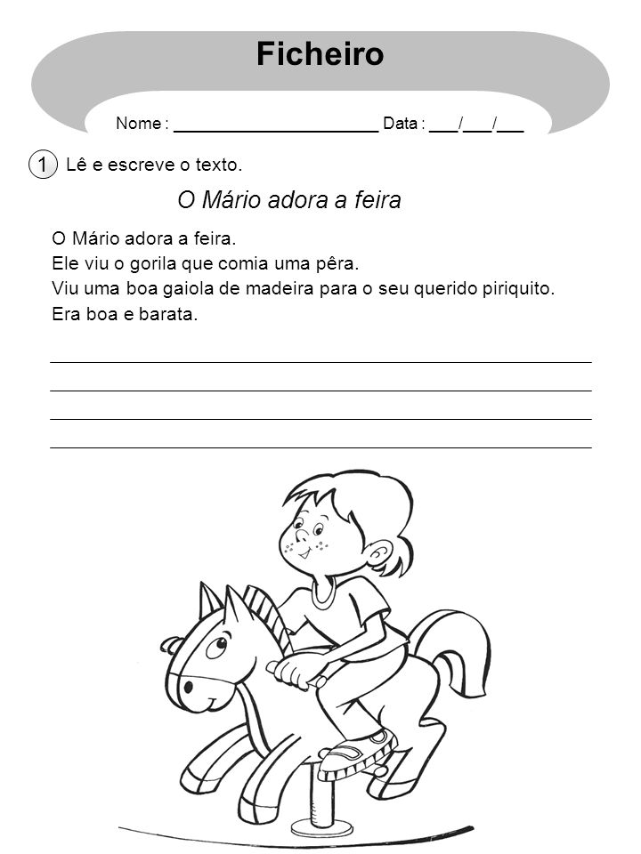 Ficheiro O Mário adora a feira 1 Lê e escreve o texto.
