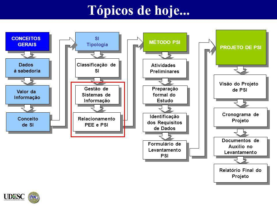 Tópicos de hoje... PROJETO DE PSI CONCEITOS GERAIS SI Tipologia