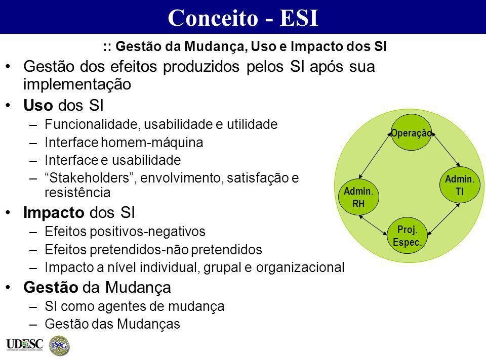 :: Gestão da Mudança, Uso e Impacto dos SI