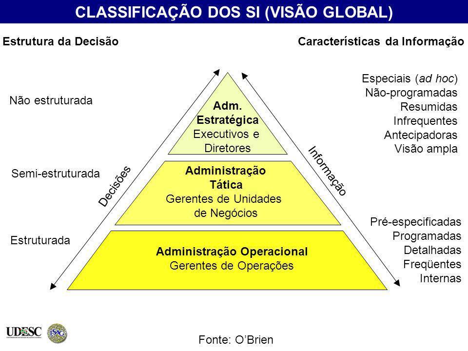 CLASSIFICAÇÃO DOS SI (VISÃO GLOBAL) Características da Informação