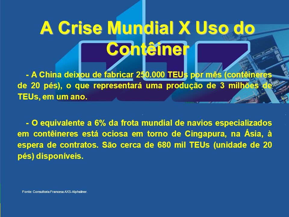 A Crise Mundial X Uso do Contêiner