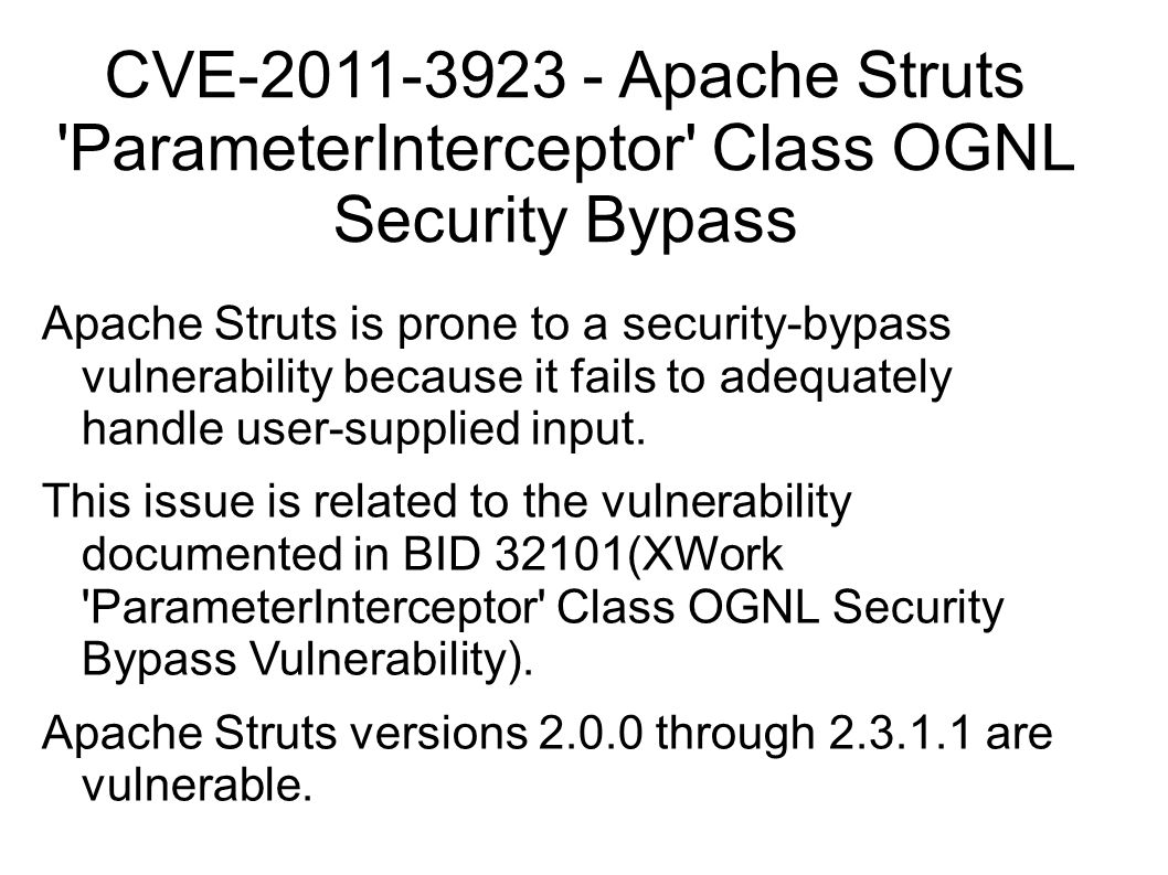 CVE-2011-3923 - Apache Struts ParameterInterceptor Class OGNL Security Bypass
