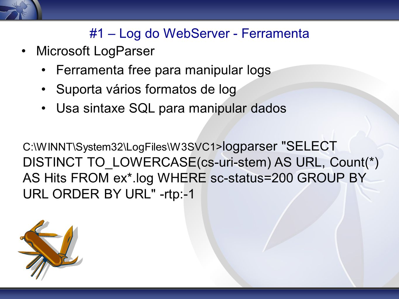 #1 – Log do WebServer - Ferramenta
