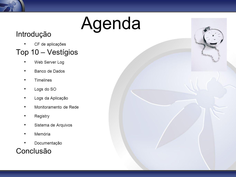 Agenda Introdução Top 10 – Vestígios Conclusão CF de aplicações