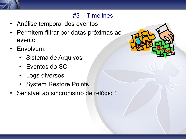#3 – Timelines Análise temporal dos eventos. Permitem filtrar por datas próximas ao evento. Envolvem: