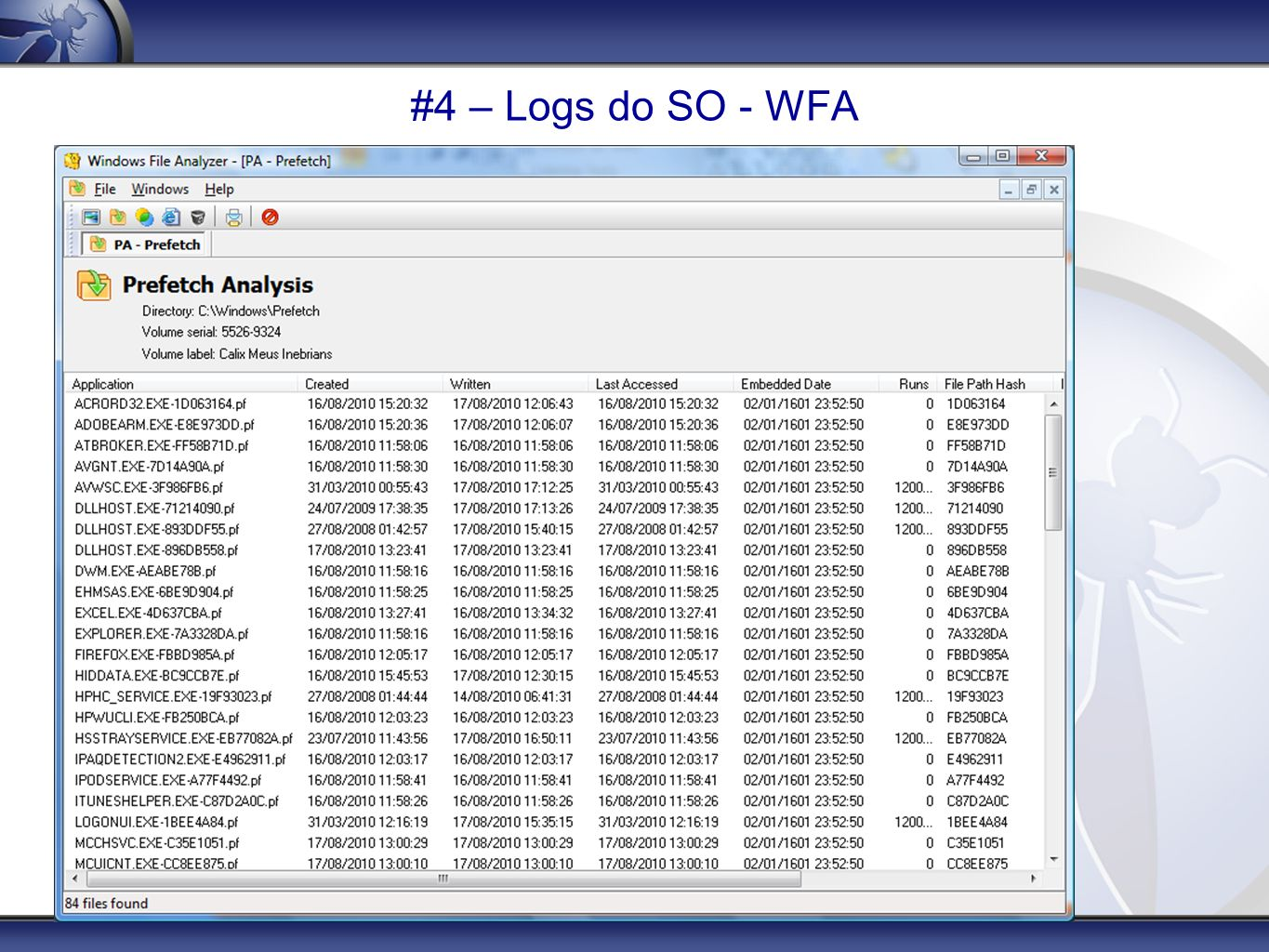 #4 – Logs do SO - WFA