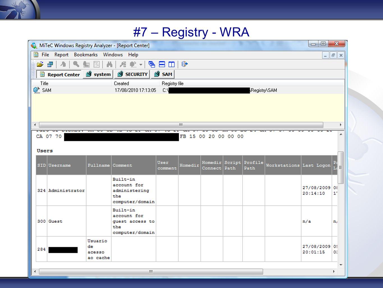 #7 – Registry - WRA