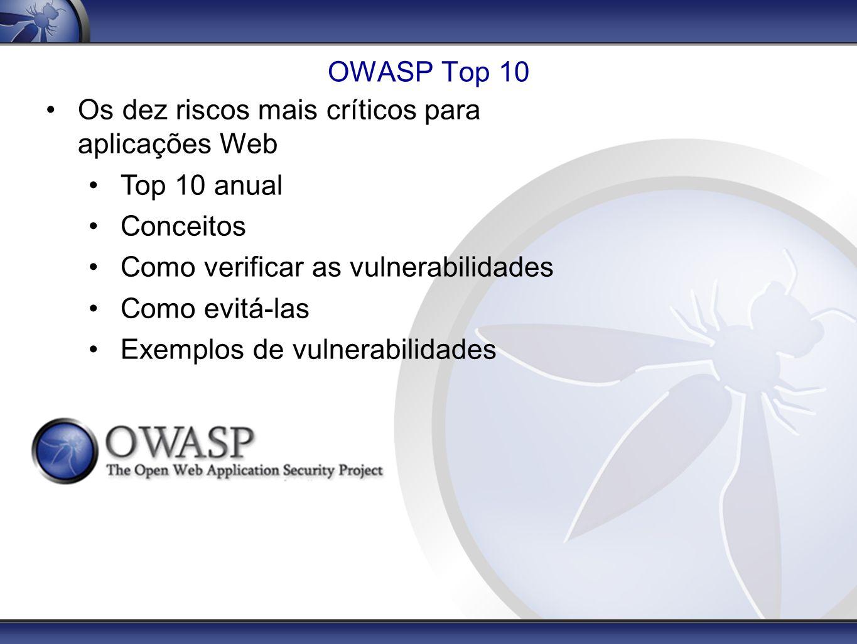 OWASP Top 10 Os dez riscos mais críticos para aplicações Web. Top 10 anual. Conceitos. Como verificar as vulnerabilidades.