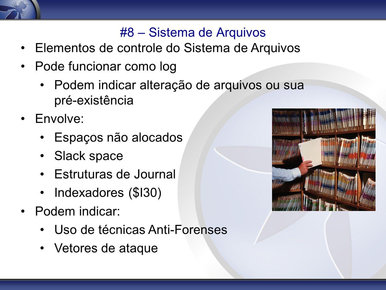#8 – Sistema de Arquivos Elementos de controle do Sistema de Arquivos. Pode funcionar como log.