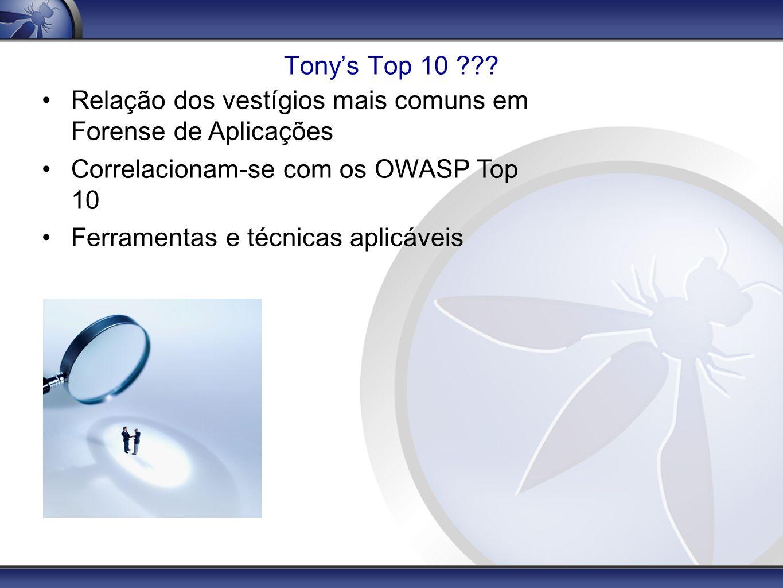 Tony's Top 10 Relação dos vestígios mais comuns em Forense de Aplicações. Correlacionam-se com os OWASP Top 10.