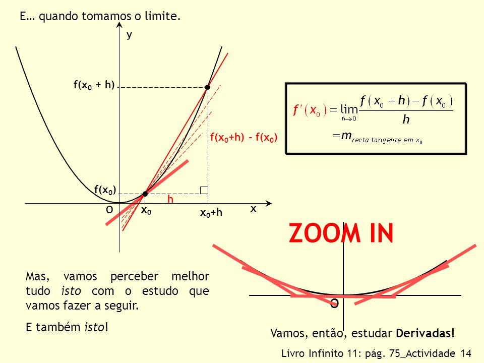 ZOOM IN O E… quando tomamos o limite.