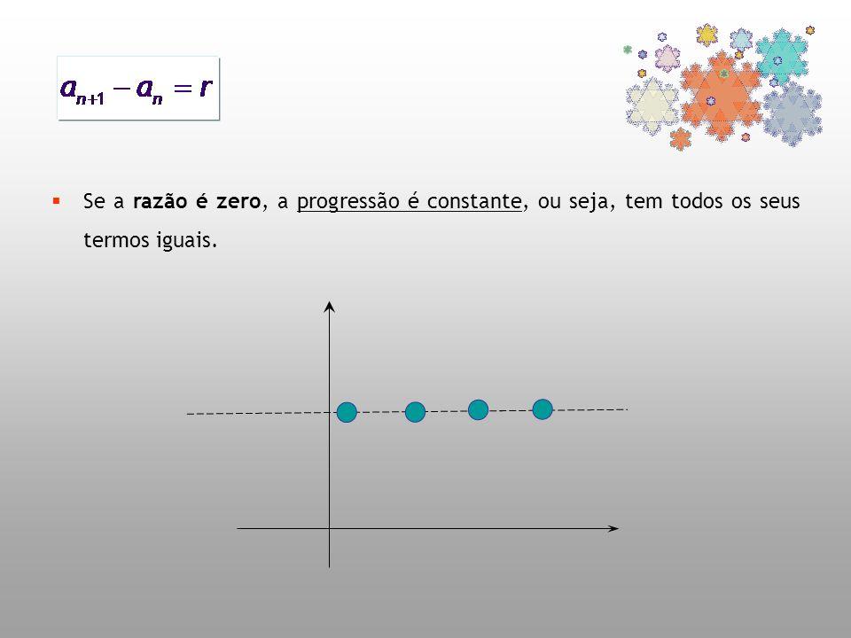 Se a razão é zero, a progressão é constante, ou seja, tem todos os seus termos iguais.