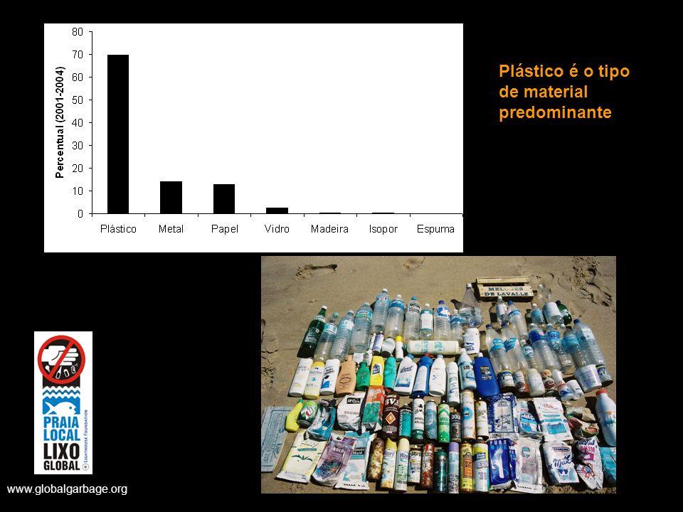 Plástico é o tipo de material predominante