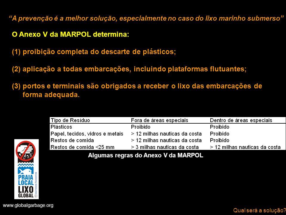 O Anexo V da MARPOL determina: