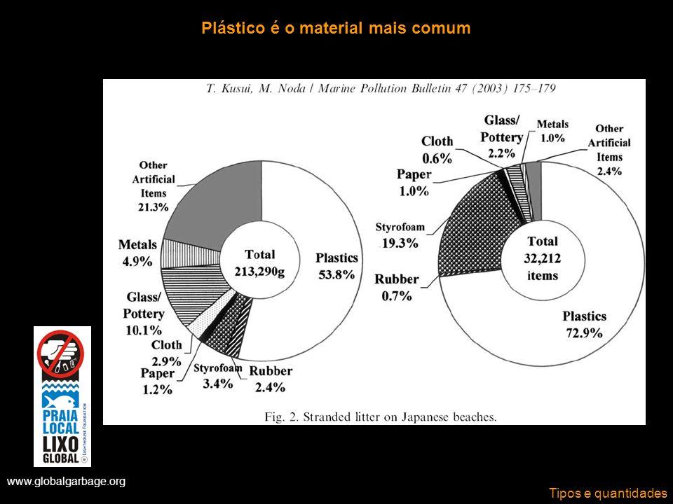 Plástico é o material mais comum