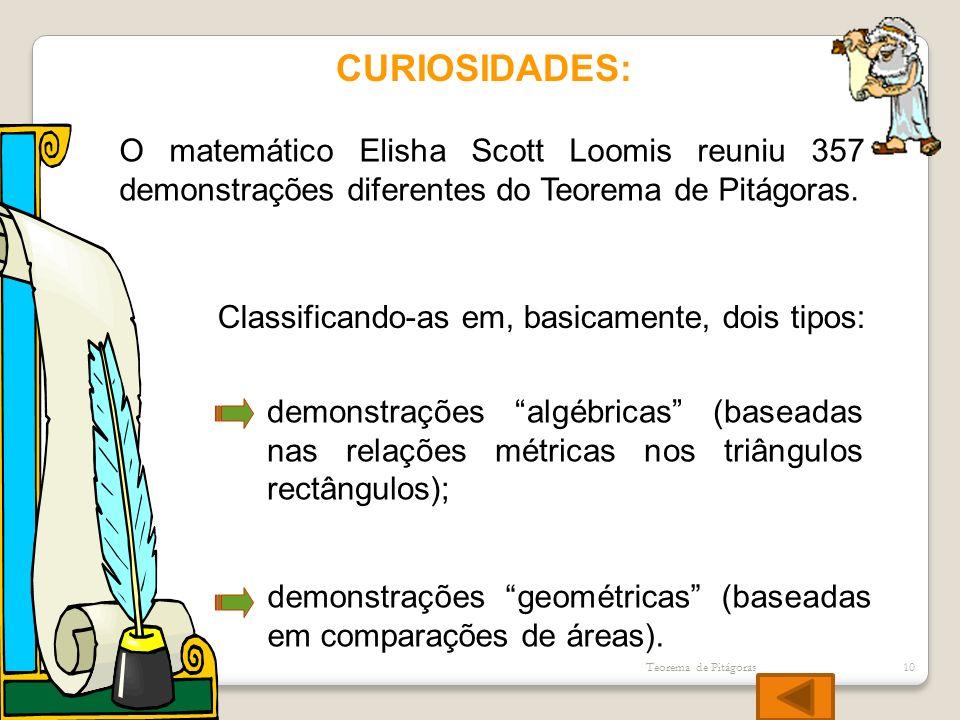 CURIOSIDADES:O matemático Elisha Scott Loomis reuniu 357 demonstrações diferentes do Teorema de Pitágoras.